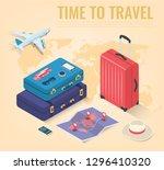 travel equipment in isometric...   Shutterstock .eps vector #1296410320