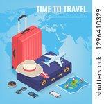 travel equipment in isometric...   Shutterstock .eps vector #1296410329