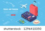 travel equipment in isometric... | Shutterstock .eps vector #1296410350