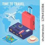 travel equipment in isometric... | Shutterstock .eps vector #1296410386