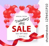 valentine day sale banner with... | Shutterstock .eps vector #1296411910