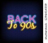back to 90s neon text vector... | Shutterstock .eps vector #1296414559
