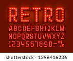 retro font vintage  light sign... | Shutterstock .eps vector #1296416236