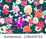colourful flowers seamless... | Shutterstock .eps vector #1296419713
