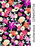 colourful flowers seamless... | Shutterstock .eps vector #1296419716