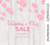 valentine's day sale card with... | Shutterstock .eps vector #1296431113