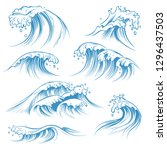 hand drawn ocean waves. sketch... | Shutterstock .eps vector #1296437503