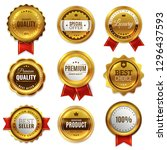 gold badges seal quality labels.... | Shutterstock .eps vector #1296437593