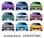 car front view set. urban... | Shutterstock .eps vector #1296437680