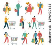shopping people set. man woman... | Shutterstock .eps vector #1296437683