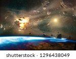 falling meteorites of asteroids ...   Shutterstock . vector #1296438049