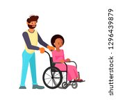 man help to young disabled... | Shutterstock . vector #1296439879