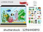 flat beautiful aquarium... | Shutterstock .eps vector #1296440893