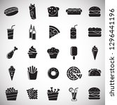fasfood icons set on white... | Shutterstock .eps vector #1296441196