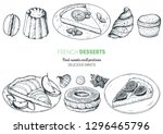 french desserts set with... | Shutterstock .eps vector #1296465796