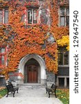 college building with gothic... | Shutterstock . vector #129647540