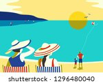 family seaside leisure relax.... | Shutterstock .eps vector #1296480040