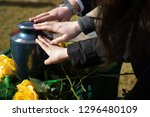 Hands Reaching For A Burial Urn ...