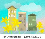 spring comes to town  houses in ... | Shutterstock . vector #1296482179