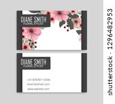 floral business card design.... | Shutterstock .eps vector #1296482953