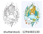 princess mermaid with dolphin.... | Shutterstock .eps vector #1296483130