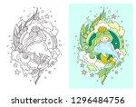 princess mermaid on the... | Shutterstock .eps vector #1296484756