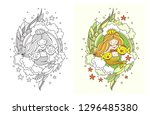 princess mermaid with two... | Shutterstock .eps vector #1296485380