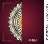 gold background with mandala | Shutterstock .eps vector #1296489499