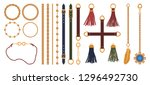 set of chains  straps and belts ... | Shutterstock .eps vector #1296492730
