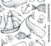 nautical seamless pattern.... | Shutterstock .eps vector #1296494596