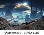 alien planet with industrial... | Shutterstock . vector #129651689