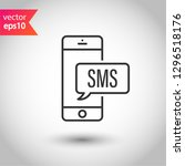 sms vector icon. mobile phone ... | Shutterstock .eps vector #1296518176
