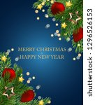 merry christmas and new year... | Shutterstock . vector #1296526153