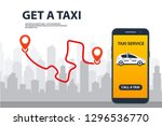 taxi service. phone with... | Shutterstock .eps vector #1296536770