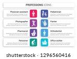 set of 8 white professions...   Shutterstock .eps vector #1296560416