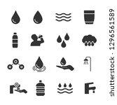 vector set of water icons. | Shutterstock .eps vector #1296561589