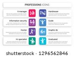 set of 8 white professions... | Shutterstock .eps vector #1296562846
