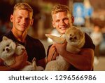 happy family on walk. spitz... | Shutterstock . vector #1296566986