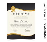 black and gold certificate... | Shutterstock .eps vector #1296571699