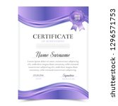 certificate template with... | Shutterstock .eps vector #1296571753
