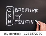 Small photo of Hand writing text and acronym of OKR (Objective Key Results) on chalkboard