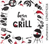 hand drawn grill and barbecue... | Shutterstock .eps vector #1296574216