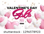 valentines day sale poster with ... | Shutterstock .eps vector #1296578923