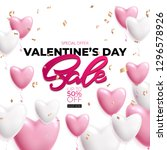 valentines day sale poster with ... | Shutterstock .eps vector #1296578926