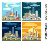 night and day cityscape. set of ... | Shutterstock .eps vector #1296582229