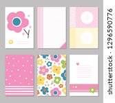 six cute notebook covers and... | Shutterstock .eps vector #1296590776