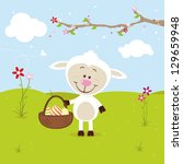 little sheep with easter eggs | Shutterstock .eps vector #129659948