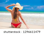 young woman in white dress and... | Shutterstock . vector #1296611479