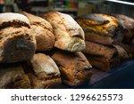 loaves of fresh bread on...   Shutterstock . vector #1296625573