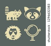cat icon set with leo  mirror... | Shutterstock .eps vector #1296632383